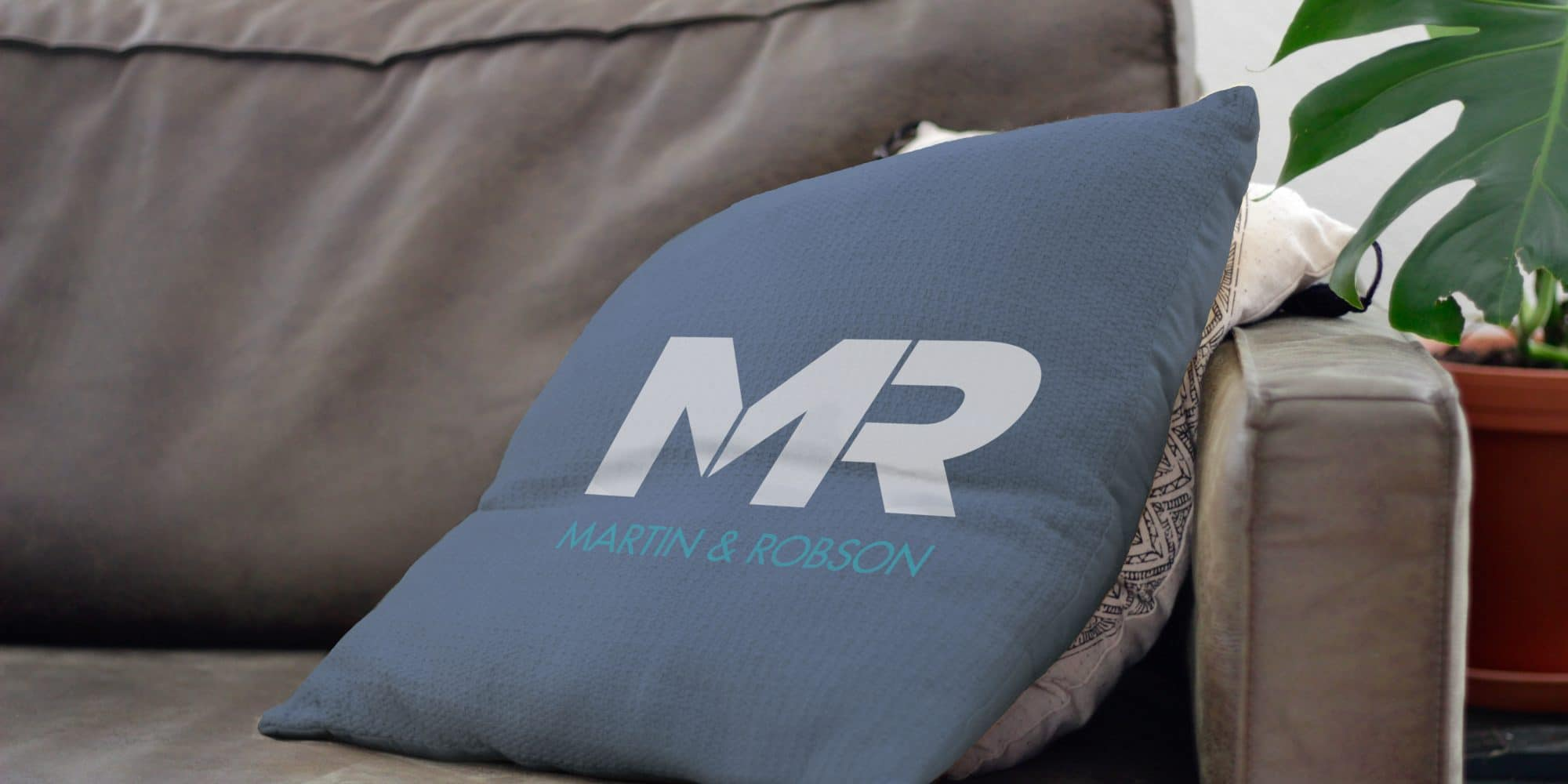 Martin and Robson logo on pillow